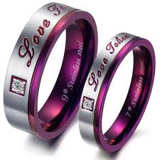 stainless steel wedding ring sets purple classic rhinestone cz titanium stainless steel mens