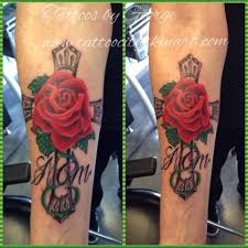 beautiful red rose remembrance mom cross tattoo golfian com
