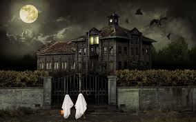 free halloween powerpoint background scary house backgrounds wallpaper cave