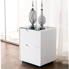 High Gloss Side Table Maestro Bedside Table White High Gloss W Black Glass Top