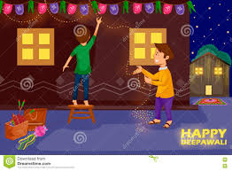 kids decorating house for celebrating diwali festival of india