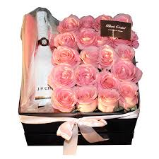 Designer Flower Delivery Roses And Champagne In The Box Flower Gifts Delivery Black Orchid