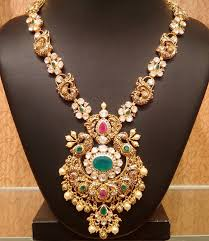 long chain necklace designs images Peacock long chain with pachi setting jewellery designs jpg