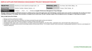 supplier performance management project manager cover letter u0026 resume