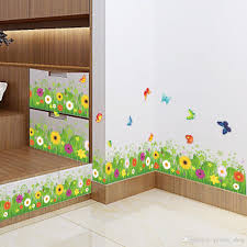 diy colorful flower plant flying butterfly wall sticker forest