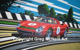 ferrari art greg mcneill art original painting pop art ferrari 250gt lm