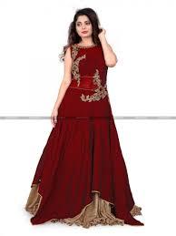 gown design burgundy designer indo western gown only on parisworld pwrg30038