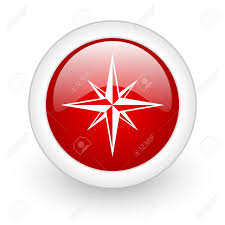 Flag With Red Circle Compass Red Circle Glossy Web Icon On White Background Stock Photo