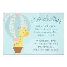 bring a book baby shower giraffe balloon baby shower book card bring a book zazzle