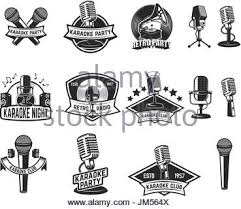 karaoke party poster vintage microphone on grunge background