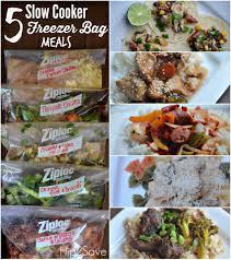 five slow cooker freezer bag meals make 5 meals in just one hour