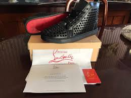 brand new christian louboutin men u0027s black leather trainers spikes