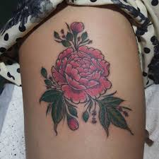 peony flowers thigh tattoo best tattoo ideas gallery