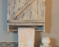 Bathroom Cabinet With Towel Rack Bathroom Cabinet Etsy