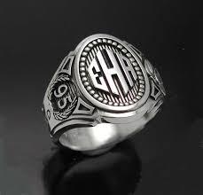 mens monogram ring monogram cigar band mens ring in sterling silver style 015