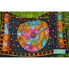 Sun And Moon Bedding Tie Dyed Universe Planet Horoscopic Sun Moon Tapestry
