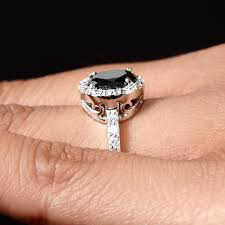 2 s ring cut black cz ring with halo