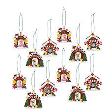 gingerbread ornaments gingerbread house photo ornaments 12 count home