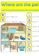 esl english exercises house prepositions of place