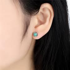 turquoise stud earrings pas431 silver blooms earrings december turquoise stud