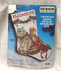 design works counted cross stitch stocking kit embroidery cats