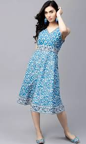 coloured dress the cotton world blue coloured printed skater dress