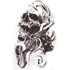1pcs metallic for cool skull guns stickers on the