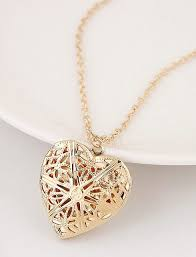 personalized heart locket fashion gold rhodium plated personalized cut out metal flower