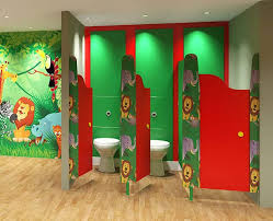 unique kids bathroom with colorful stall divider for awesome look