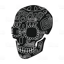 mexican calavera skull icon in black style isolated on white