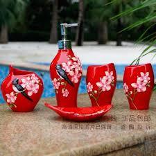 Red Bathroom Accessories Sets by Buy Bathroom Accessories Set 2 Pieces Liquid Soap Dispenser