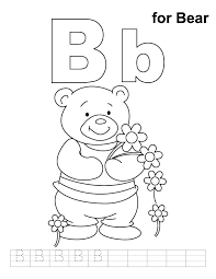 b for bear coloring page with handwriting practice download free