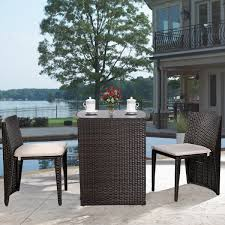 Outdoor Furniture Set Costway 3 Pcs Cushioned Outdoor Wicker Patio Set Garden Lawn Sofa