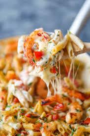 Dinner Ideas With Shrimp And Pasta Skinny Shrimp Alfredo Pasta Bake Damn Delicious