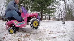 power wheels jeep barbie gas powered power wheels barbie jeep youtube