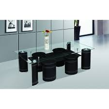 Coffee Table With Nesting Stools - best quality furniture glass top black coffee table with 4 nesting