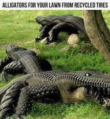 recycled tires alligator lawn ornaments outdoor projects