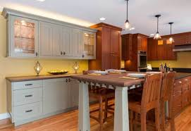 kitchen in the craftsman spirit arts crafts homes and the revival battered tapered legs and chunky brackets lend period style to the table end of