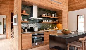 Green Kitchen New York Kitchen And Eating Area Offsets The Wooden Motif With Green Subway