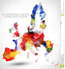 Map Of The Europe by Geometric Triangle Design Map Of The European Union Stock Vector