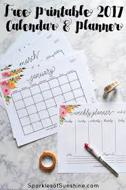 printable calendar 2017 for planner free printable 2017 monthly calendar and weekly planner
