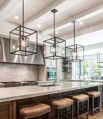 kitchen lights island cube cage lighting complete with edison bulbs complements an