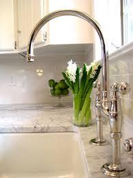 Bridge Faucets For Kitchen by Kitchens Glossy Subway Tiles Backsplash White Kitchen Cabinets