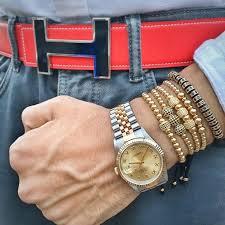 men bracelet style images Mcllroy style men bracelets gold black round beads 10mm micro jpg