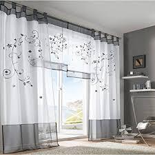 kurzgardinen wohnzimmer souarts grau stickerei transparent gardine vorhang schlaufenschal
