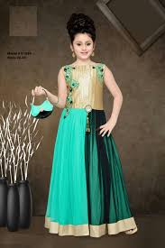 green gold indian ethnic kids designer long gown party wear