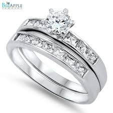Promise Engagement And Wedding Ring Set by Eternity Band Ring Round Cut Princess Diamond Cz Accent Dazzling