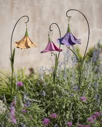 metal flowers trumpet flower decorative garden stakes set of 3