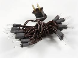 clear mini lights 20 bulbs brown wire 7 5 ft