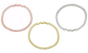 aliexpress buy 2016 new european men 39 s jewelry men s 14k solid white gold cuban chain bracelet groupon